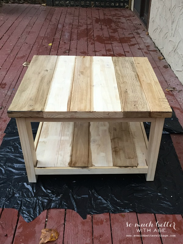 Staining / Ikea Rekarne table makeover | somuchbetterwithage.com