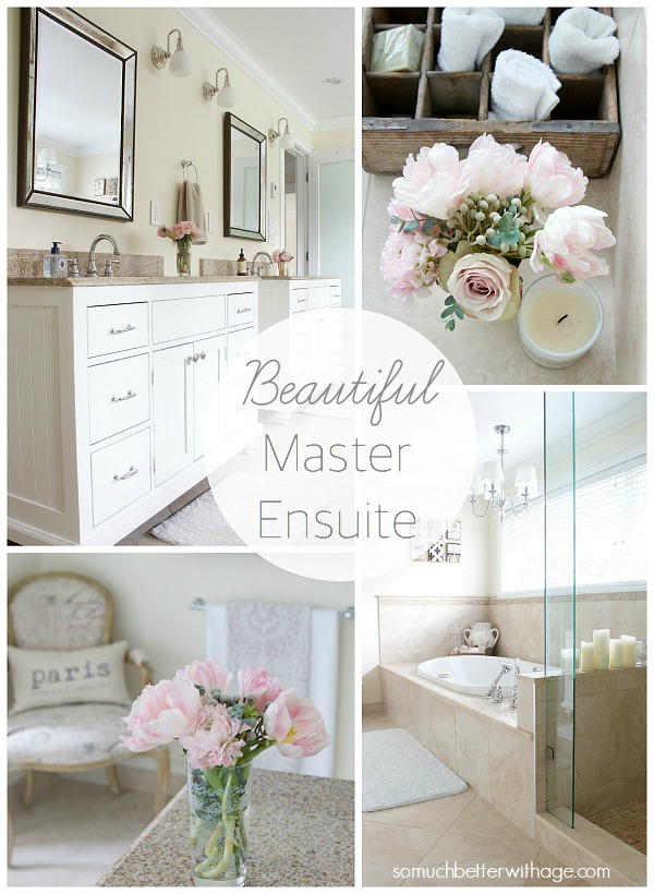 Master ensuite with pretty pink flowers on the counter