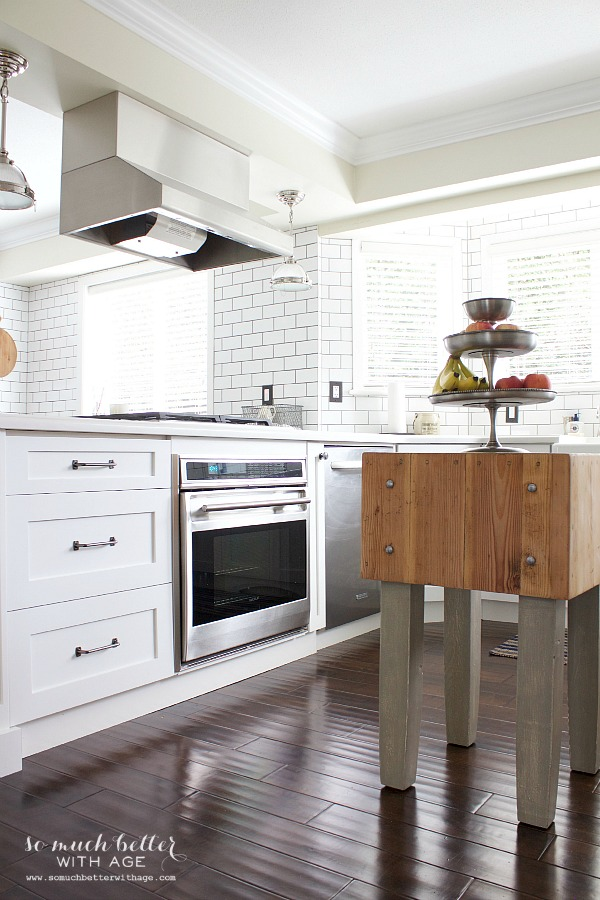 Butcher block white kitchen