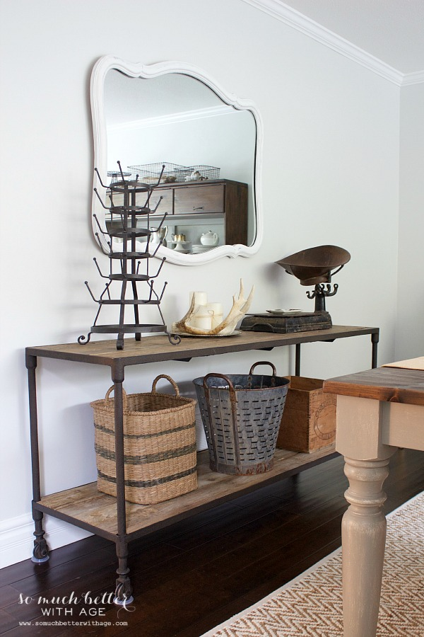 Get my dining room look / Restoration Hardware side table - So Much Better With Age