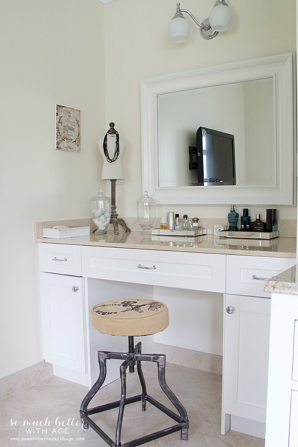 Beautiful master ensuite with before pictures / Make-up vanity area - So Much Better With Age
