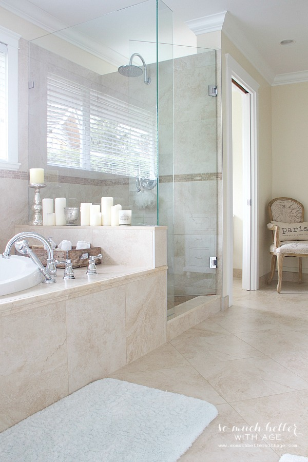 Neutral walls and tiles in the ensuite.
