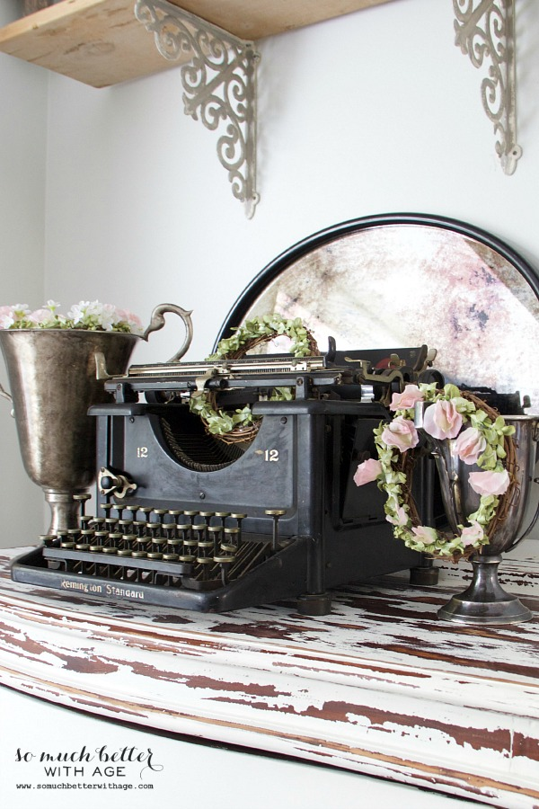 New French Additions / Old typewriter and spring wreaths - So Much Better With Age