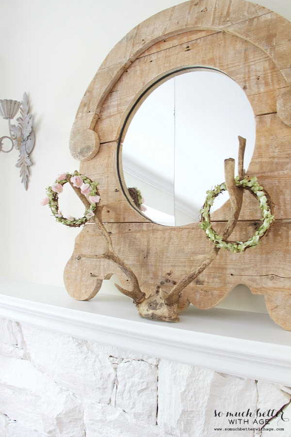 New French Additions / Rustic mirror and antlers - So Much Better With Age