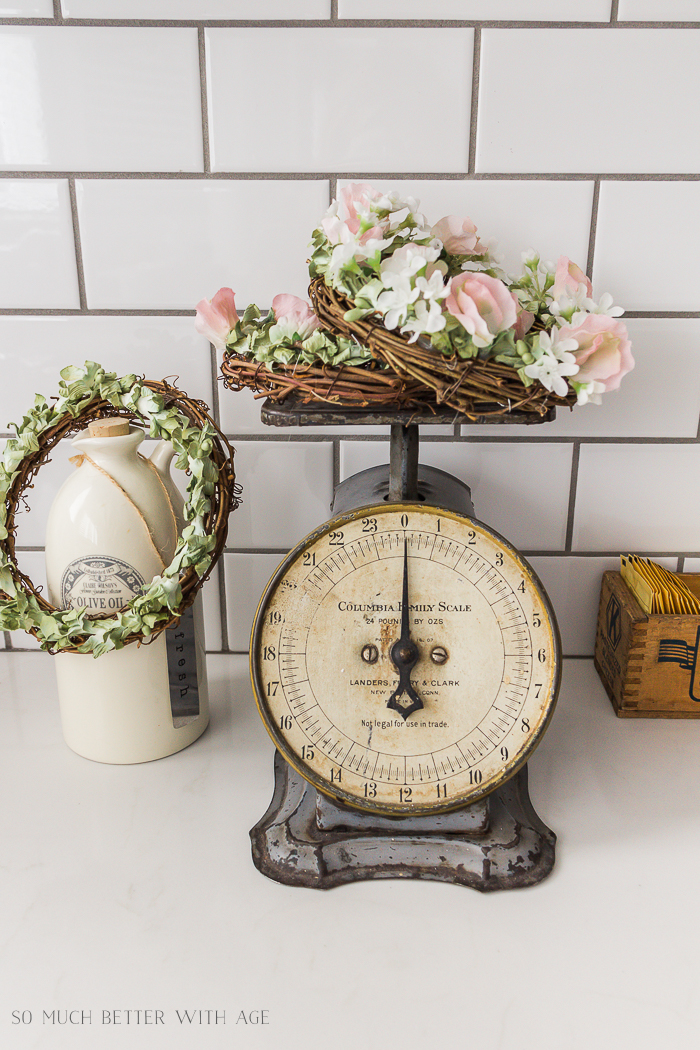 Decorate with springtime floral crowns / vintage scale - So Much Better With Age