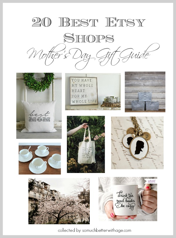Poster of the 20 best Etsy shops for Mothers Day.
