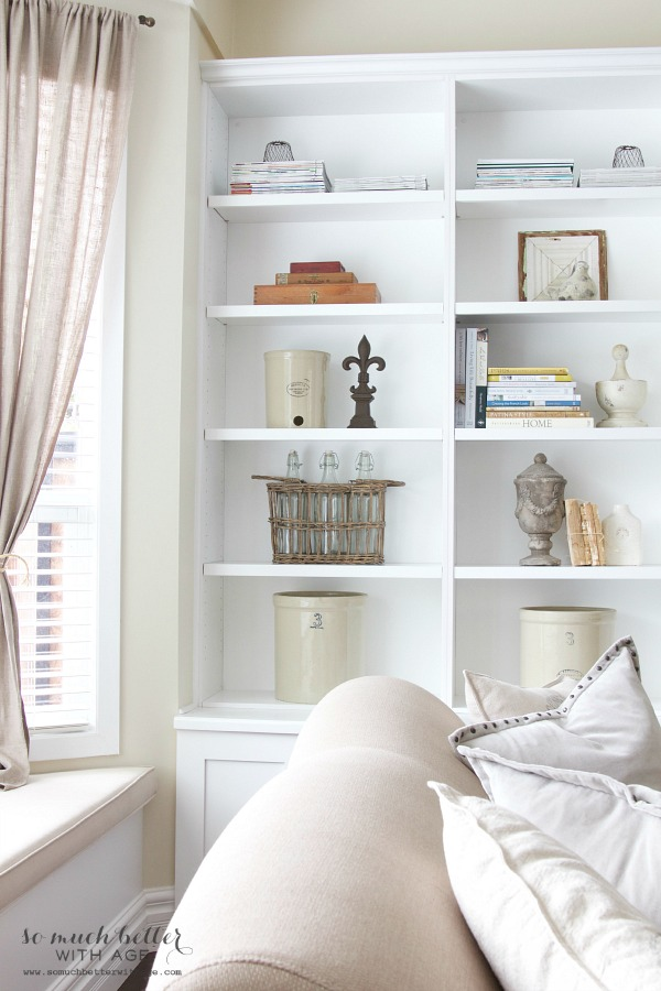 Get My Living Room Look/styled white bookshelves - So Much Better With Age