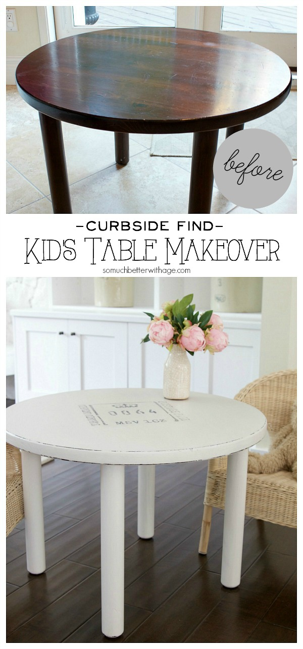 Curbside find kid's table makeover / solid wood table - So Much Better With Age