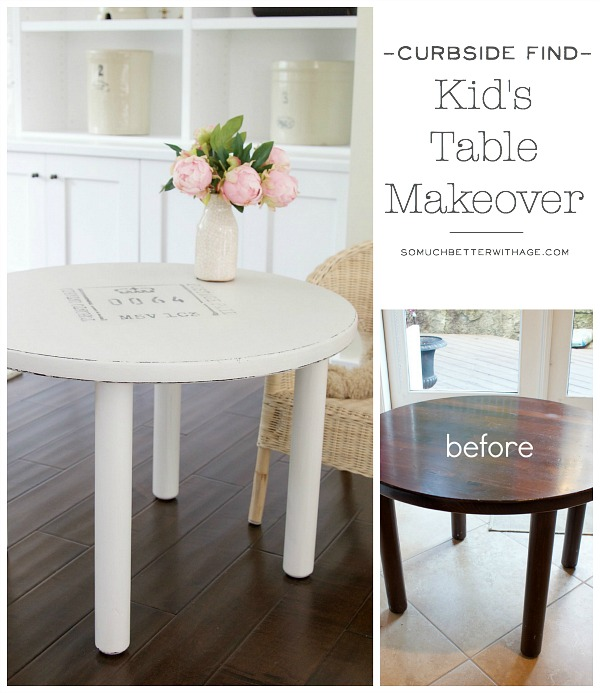 Curbside Find Kid's Table Makeover / before and after picture of table - So Much Better With Age