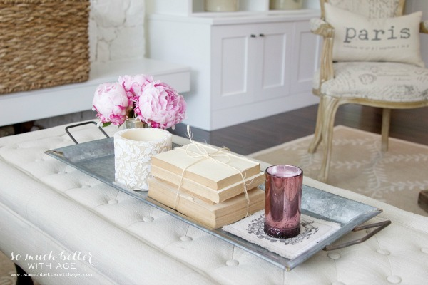 Styling Trays & A Giveaway / old books on tray - So Much Better With Age