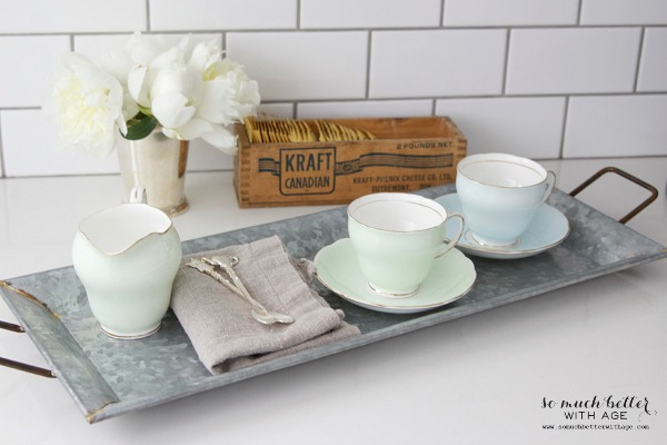 Styling Trays & A Giveaway / Galvanized tray, tea cups - So Much Better With Age