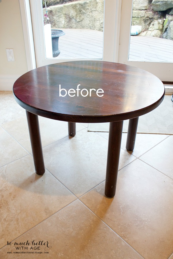 Curbside find kid's table makeover / before picture of stained table - So Much Better With Age