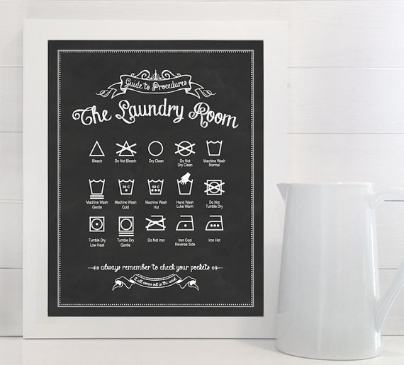 Lettered and Lined picture of vintage laundry room guide, framed and hanging on wall.
