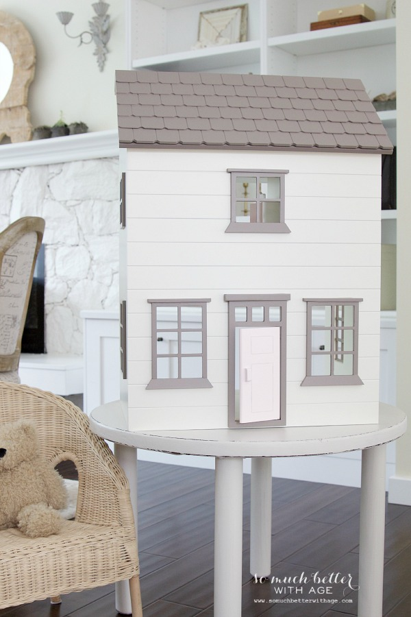 Curbside find  kid's table makeover / doll house on table - So Much Better With Age