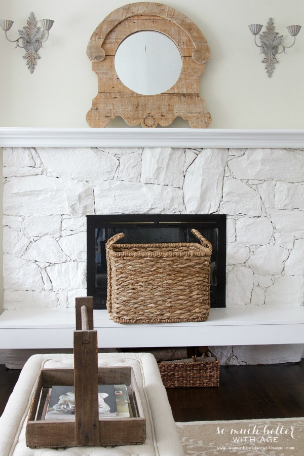 Get My Living Room Look/ rustic mirror, white fireplace - So Much Better With Age