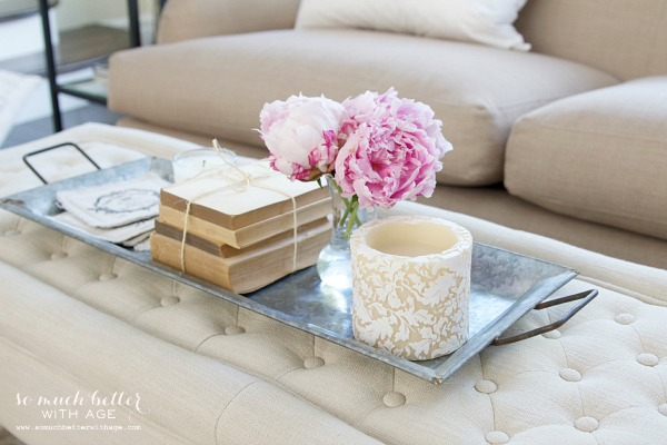 Styling Trays & A Giveaway / pink flowers on tray - So Much Better With Age