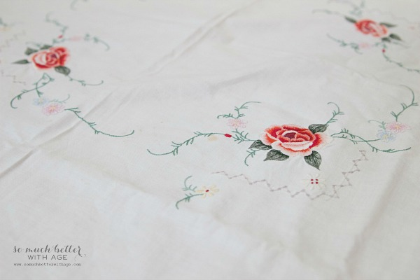 Sentimental Tablecloth to Pillow Cover / delicate flowers - So Much Better With Age
