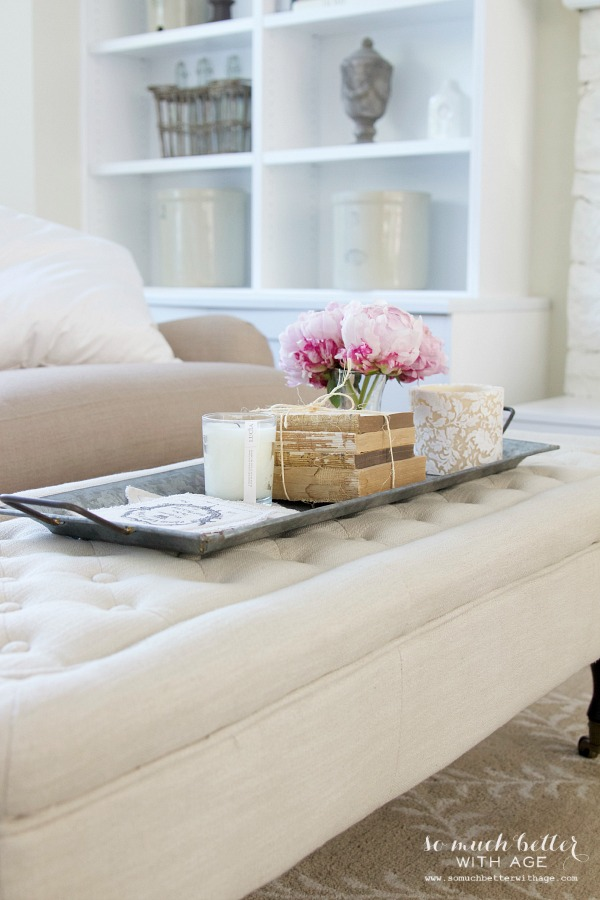 Styling Trays & A Giveaway / styled tray on ottoman - So Much Better With Age