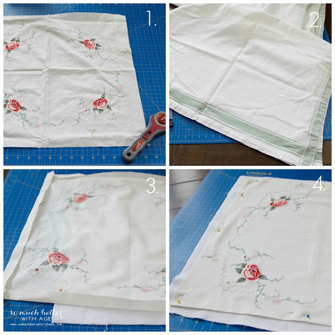 Sentimental Tablecloth to Pillow Cover / Tablecloth to pillow tutorial - So Much Better With Age