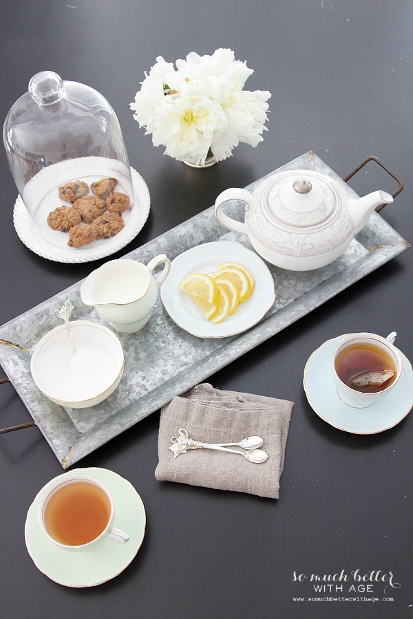 Styling Trays & A Giveaway / tray on table with tea - So Much Better With Age