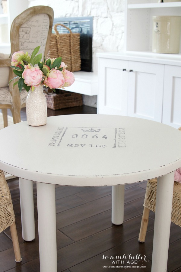 Curbside find kid's table makeover / after picture of table - So Much Better With Age