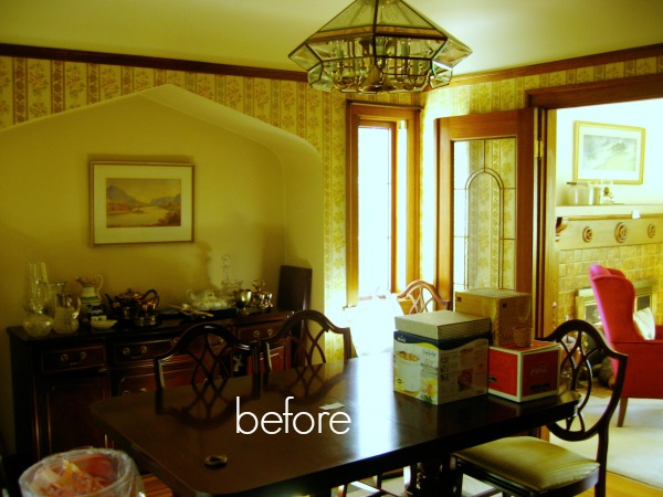 A cluttered old style dining room.