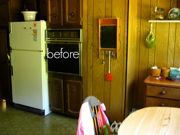 Wood panelling in kitchen before the renovation.