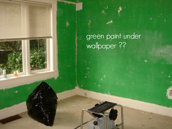 Green paint under the wallpaper in the family room.