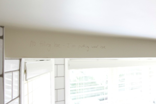 Faux beam over kitchen bulkhead wood beam inspiration / plans for the bulkhead - So Much Better With Age