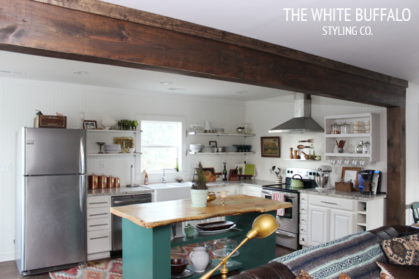 Faux beam over kitchen bulkhead wood beam inspiration / White Buffalo Styling Co - So Much Better With Age