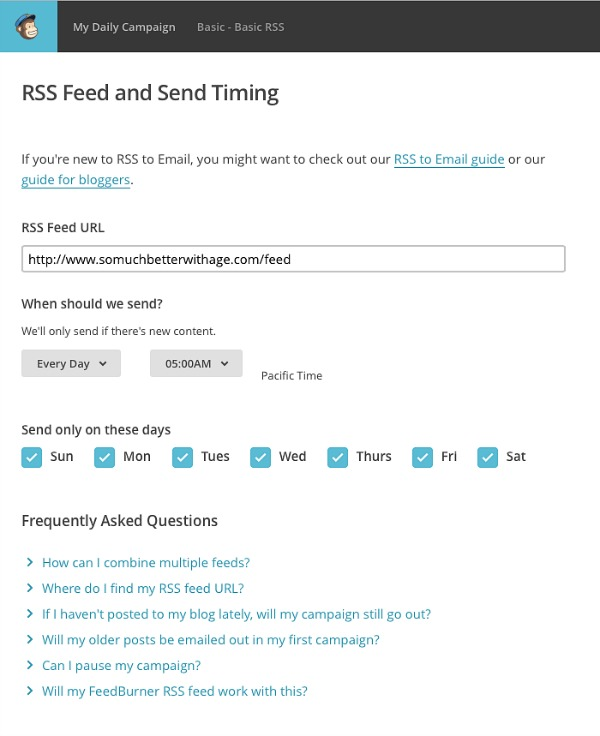 How to automate daily and weekly RSS emails with MailChimp | somuchbetterwithage.com