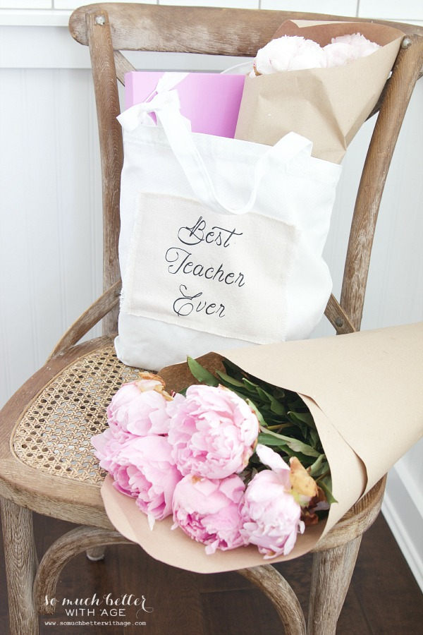 DIY Teacher Gift - Best Teacher Ever Tote / tote bag and peonies on chair - So Much Better With Age