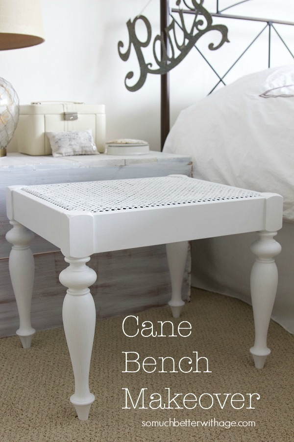 Cane bench makeover / bench in living room - So Much Better With Age