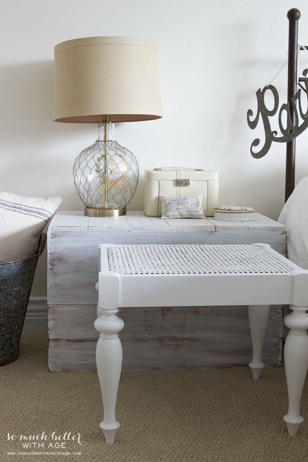 White cane bench makeover / fashion mineral paint - So Much Better With Age