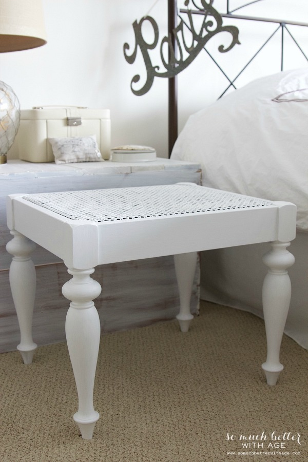 Cane bench makeover / pretty white French bench - So Much Better With Age