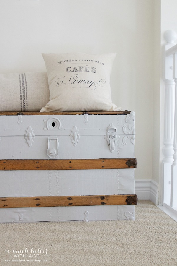 Old trunk / New French pillow | somuchbetterwithage.com
