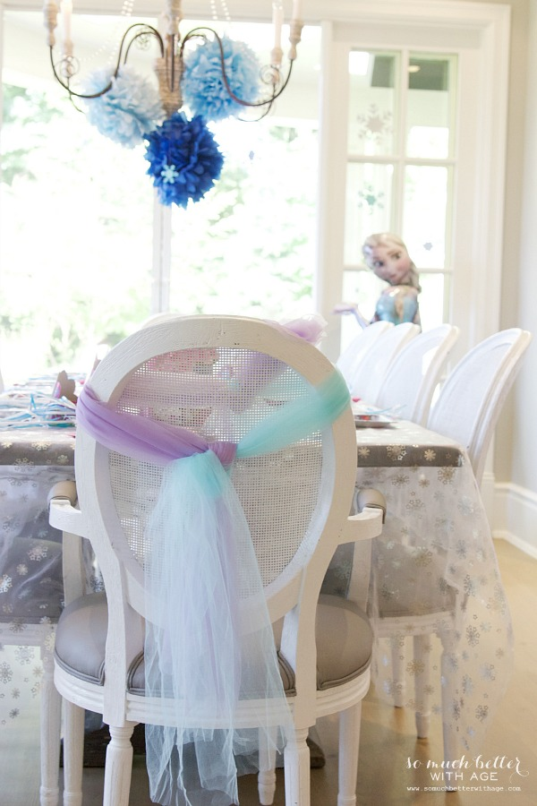 Elegant Frozen Birthday Party / pretty bow on chair - So Much Better With Age