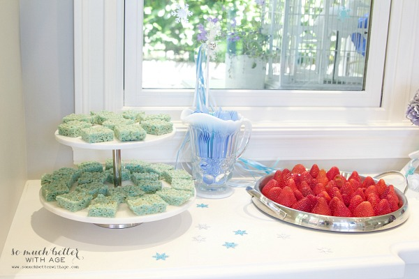 Elegant Frozen Birthday Party / pretty food on table - So Much Better With Age