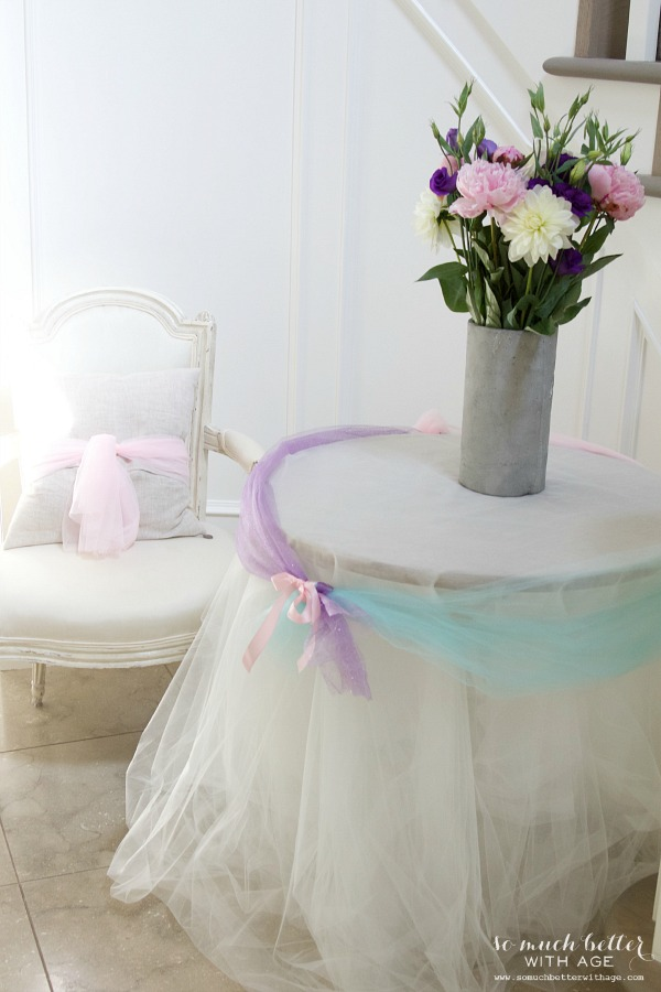 Elegant Frozen Birthday Party / side table with flowers and tulle - So Much Better With Age