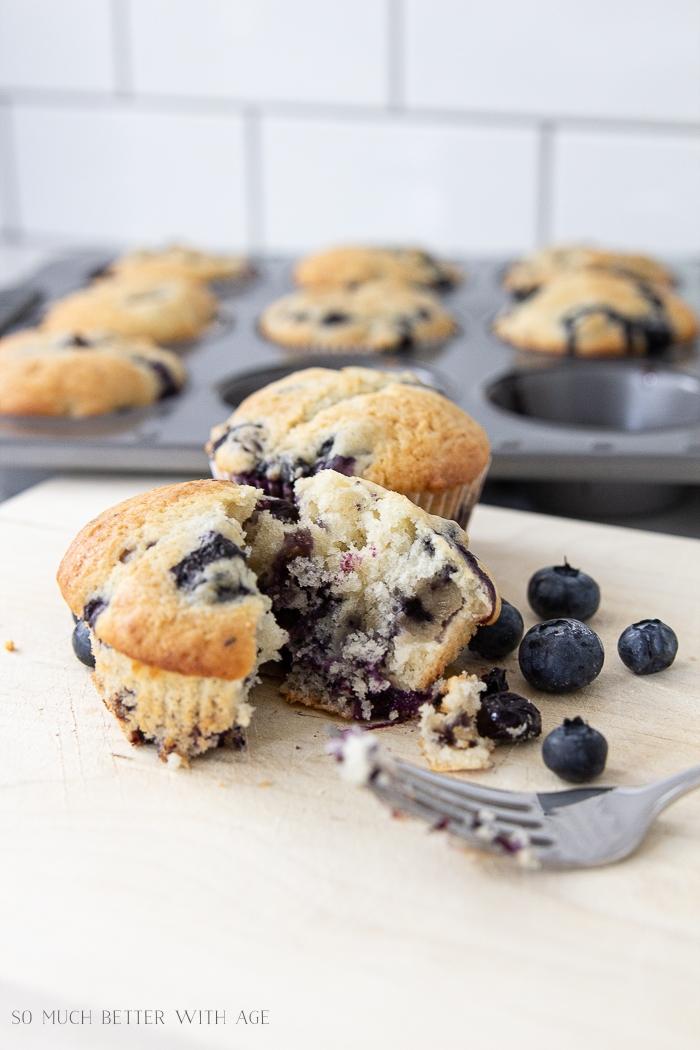 A blueberry muffin cut in half.