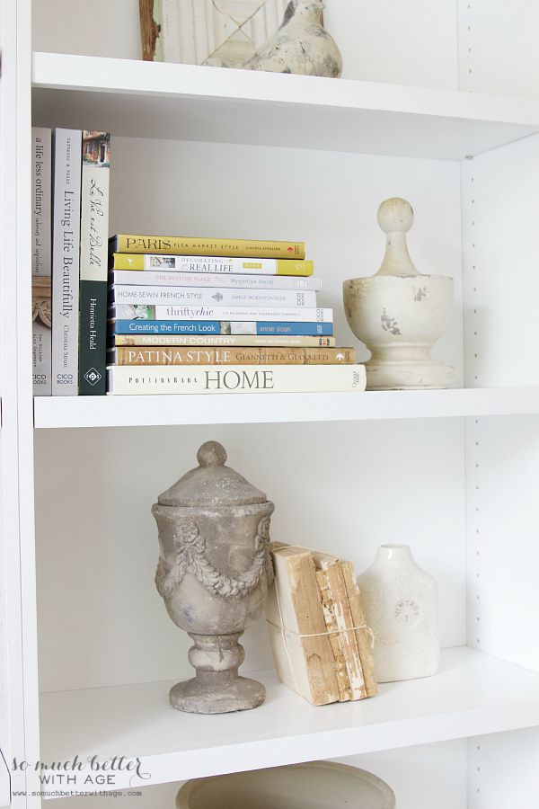 Light And Dark Contrast / bookshelf styling - So Much Better With Age
