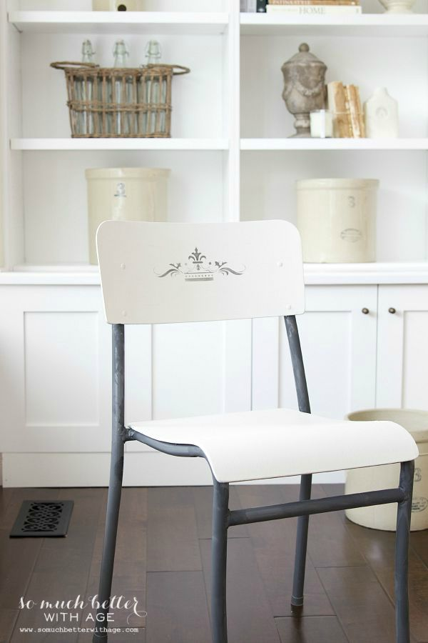 Makeover to flea market chairs / stenciled French crown flea market chairs - So Much Better With Age