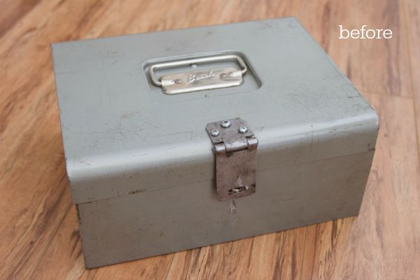 Stencilled vintage cash box / before picture of cash box - So Much Better With Age