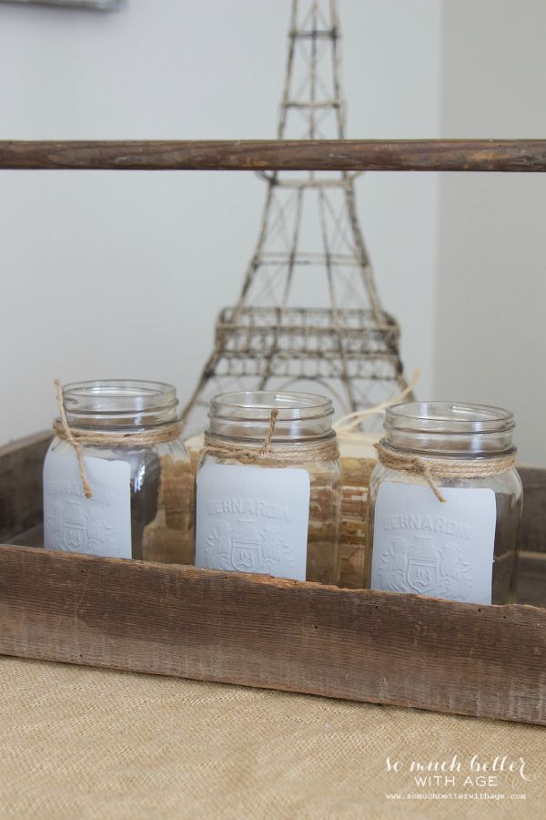 Easiest painted French mason jar / finished jars on display - So Much Better With Age