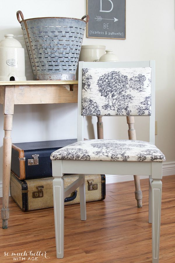 Toile chair makeover | somuchbetterwithage.com