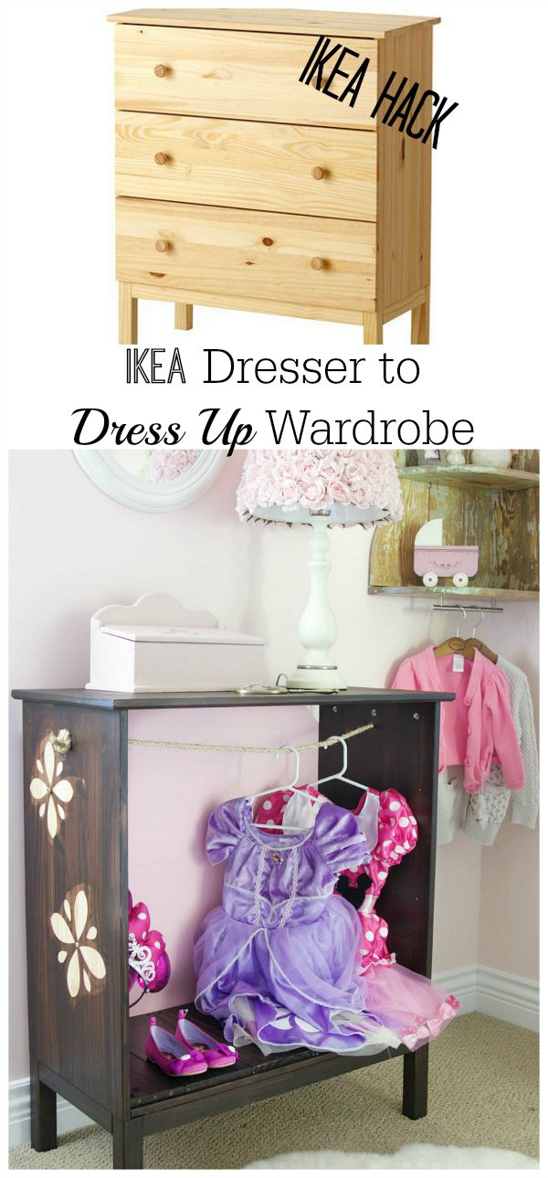 Dress-up wardrobe /  using Ikea Tarva de Cameo machine for stencils - So Much Better With Age