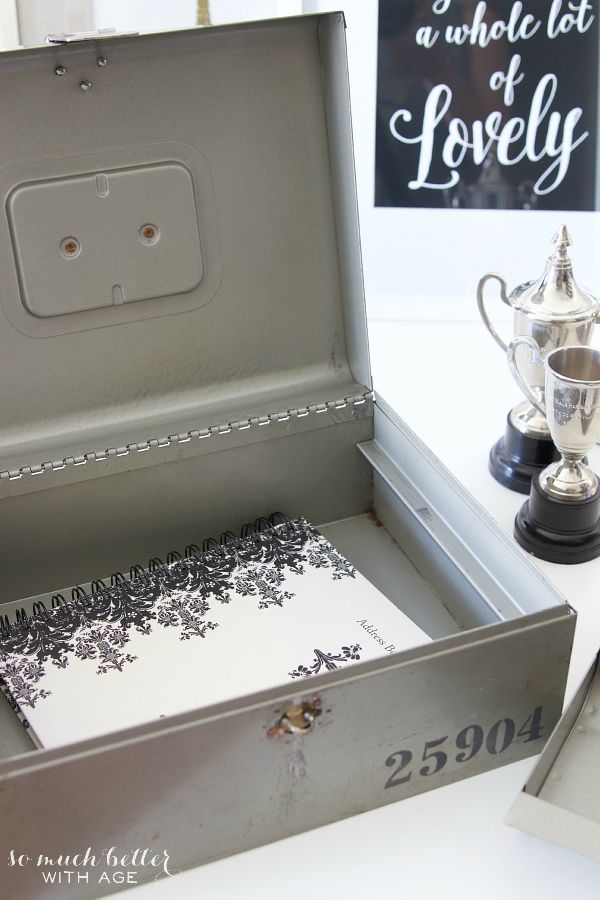 Stencilled vintage cash box / pretty cash box - So Much Better With Age