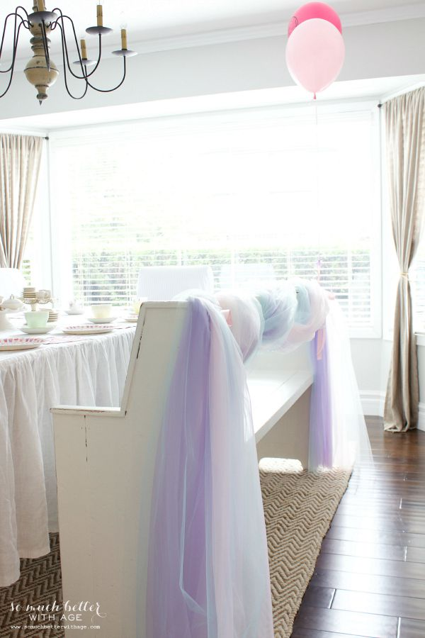 Frozen DIY photo backdrop / tulle wrapped on bench - So Much Better With Age