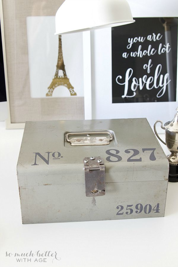 Stencilled vintage cash box / cash box on desk - So Much Better With Age