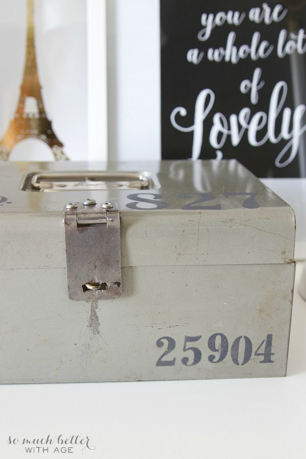 Stencilled vintage cash box - So Much Better With Age